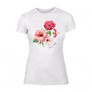 Tricou de dama Flowers alb