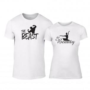 Tricouri pentru cupluri Beauty & Beast alb