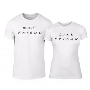 Tricouri pentru cupluri Boyfriend & Girlfriend  alb TEEMAN