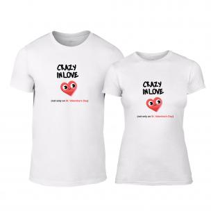 Tricouri pentru cupluri Crazy In Love alb