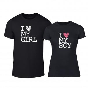 Tricouri pentru cupluri Love My Girl Love My Boy negru