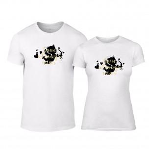 Tricouri pentru cupluri Love Always Wins alb TEEMAN