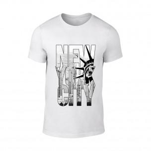 Tricou pentru barbati New York alb, mărimea XL