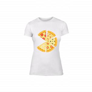 Tricou de dama Pizza alb, mărimea M