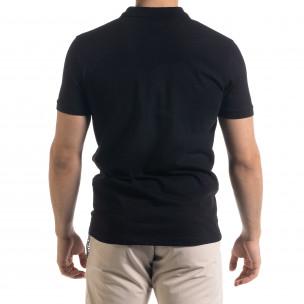 Tricou cu guler bărbați Clang negru  2