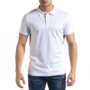 Tricou cu guler bărbați Clang alb