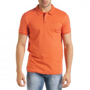 Tricou cu guler bărbați Clang orange Clang