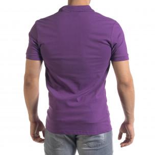 Tricou cu guler bărbați Lagos mov Lagos 2