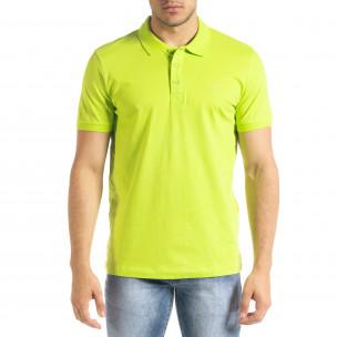 Tricou cu guler bărbați Clang verde Clang