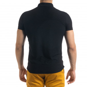 Tricou cu guler bărbați Lagos negru  2