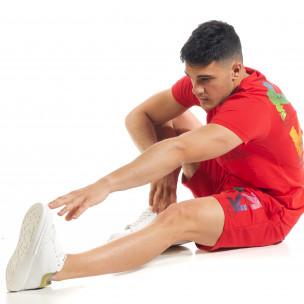 Set sportiv roșu pentru bărbați cu imprimeu