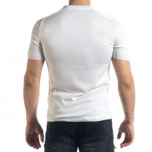 Tricou cu guler bărbați Breezy alb  2