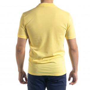 Tricou cu guler bărbați Lagos galben  2
