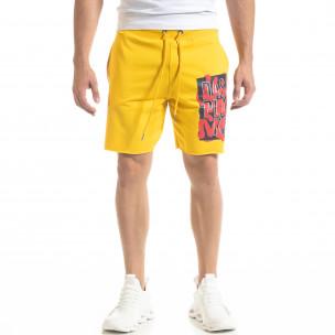 Pantaloni scurți bărbați SAW galbeni  2