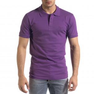 Tricou cu guler bărbați Lagos mov Lagos