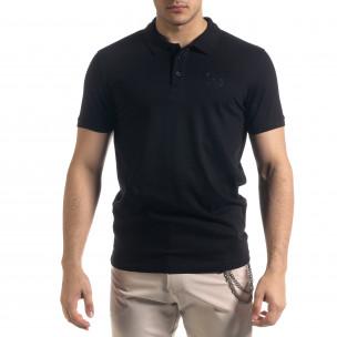 Tricou cu guler bărbați Clang negru