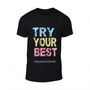 Tricou pentru barbati Try negru TEEMAN