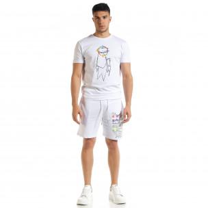 Set sportiv alb pentru bărbați cu imprimeu 2020  2