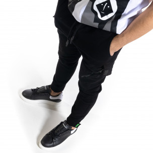Pantaloni cargo bărbați Breezy negri 2