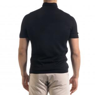 Tricou cu guler bărbați Breezy negru  2