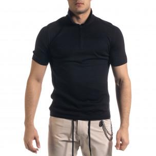 Tricou cu guler bărbați Breezy negru