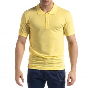 Tricou cu guler bărbați Lagos galben