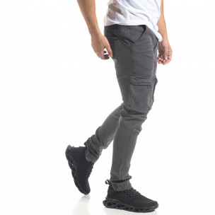 Pantaloni cargo bărbați Bread & Buttons gri 2