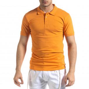 Tricou cu guler bărbați Lagos orange