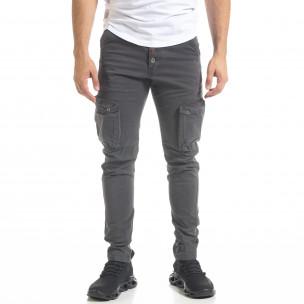 Pantaloni cargo bărbați Bread & Buttons gri