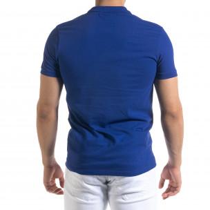 Tricou cu guler bărbați Clang albastru  2