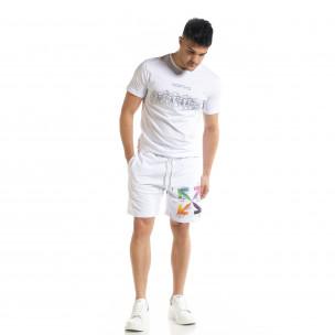 Set sportiv alb pentru bărbați cu imprimeu