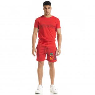 Set sportiv roșu pentru bărbați cu imprimeu  2