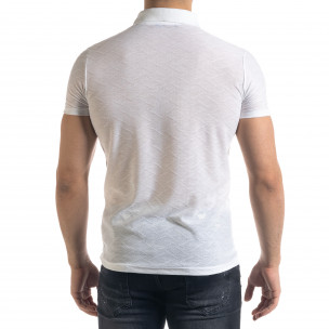 Tricou cu guler bărbați Lagos alb  2