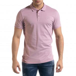 Tricou cu guler bărbați Clang roz Clang