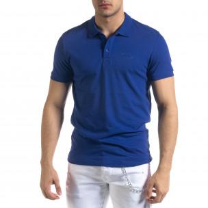 Tricou cu guler bărbați Clang albastru