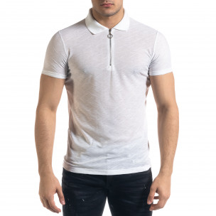Tricou cu guler bărbați Lagos alb