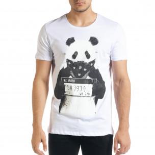 Tricou bărbați Panda alb