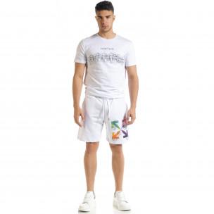 Set sportiv alb pentru bărbați cu imprimeu  2