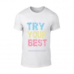 Tricou pentru barbati Try alb TEEMAN