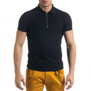Tricou cu guler bărbați Lagos negru