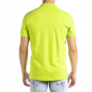 Tricou cu guler bărbați Clang verde  2