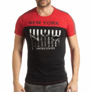 Tricou pentru bărbați New York în negru-roșu