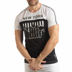Tricou pentru bărbați New York în negru-alb