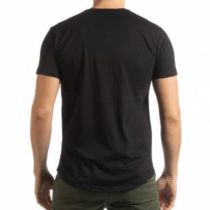 Tricou negru cu imprimeu de bărbați  2