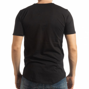 Tricou pentru bărbați negru cu inscripție  2