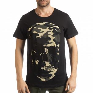 Tricou negru de bărbați cu craniu camuflaj