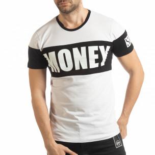 Tricou alb Money pentru bărbați