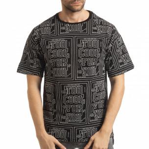Tricou negru pentru bărbați cu spate prelungit