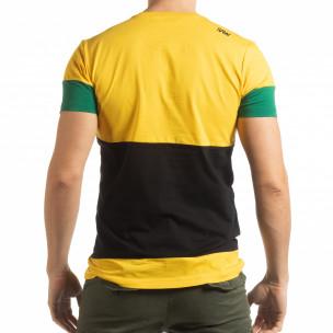 Tricou pentru bărbați Move multicolor cu galben  2