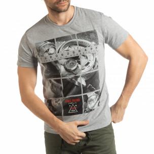 Tricou gri Chronograph pentru bărbați